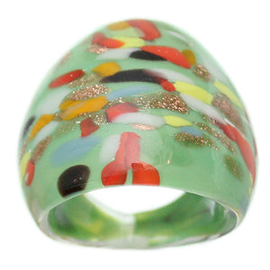 Green Multi Color Specked Glass Murano Ring