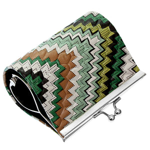 Green Faux Leather Chevron Kisslock Coin Purse
