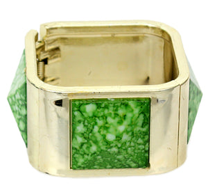 Green Spotted Pyramid Hinged Bracelet