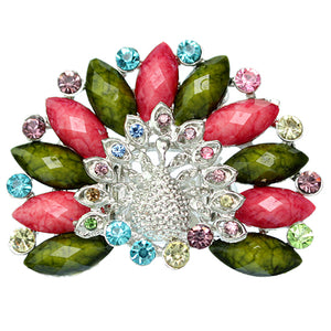 Pink Green Rhinestone Peacock Stretch Ring