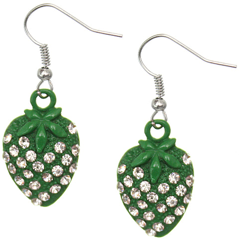 Green Strawberry Mini Rhinestone Earrings