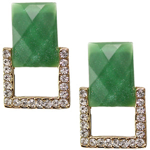 Green Square Gemstone Post Earrings