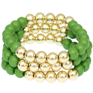 Green Beaded Round Ball Stretch Bracelets