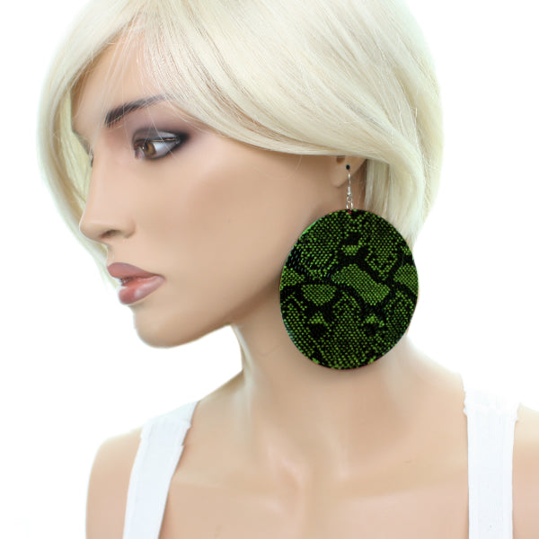 Green Big Snakeskin Earirngs