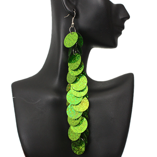 Green Long Earrings