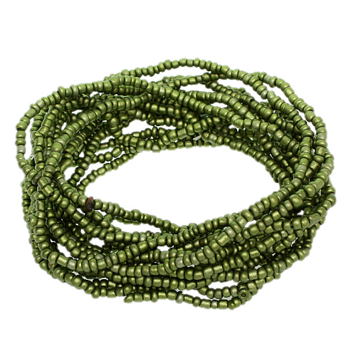 Green Beaded Stretch Stacked Bracelets