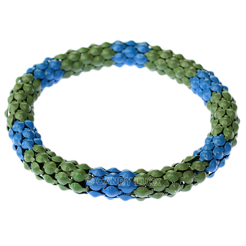 Green Blue Connected Stretch Bracelet