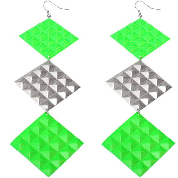 Green Long Studded Cone Triple Dangle Earrings