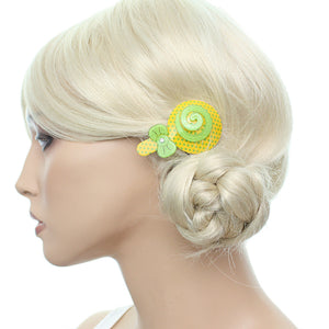 Green Yellow Swirl Polka Dot Comic Hair Clip Bow