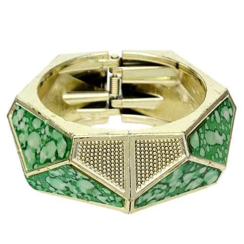 Green Spotted Triangular Hinged Bracelet