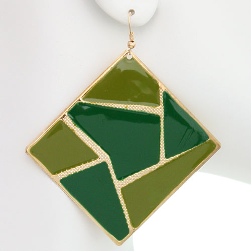 Green Triangular Multi-Shaped Dangle Earrings