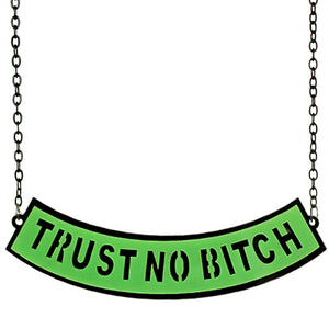 Green Trust No Bitch Chain Necklace
