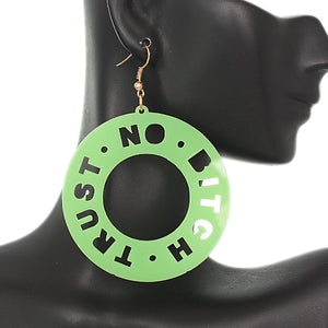 Green Trust No Bitch Round Cutout Letter Earrings