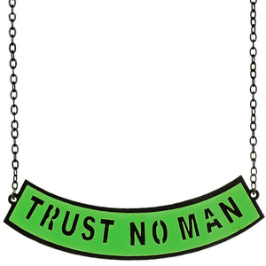 Green Trust No Man Chain Necklace