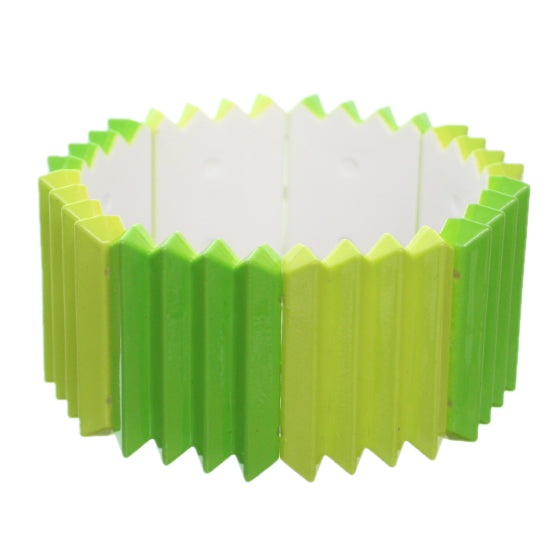 Green Two Tone Pleated Ruffle Stretch Bracelet