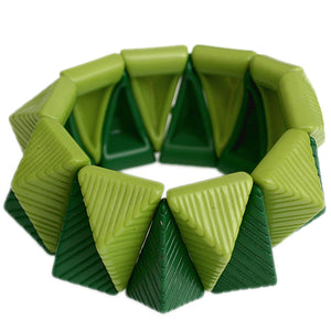 Green Two Tone Triangle Pyramid Stretch Bracelet