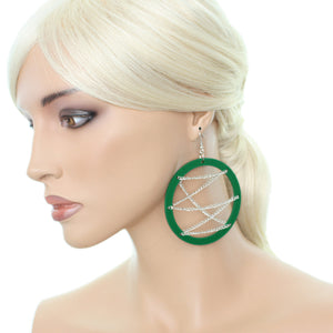 Green Chain Wood Earrings