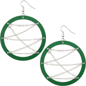 Green Edgy Earrings