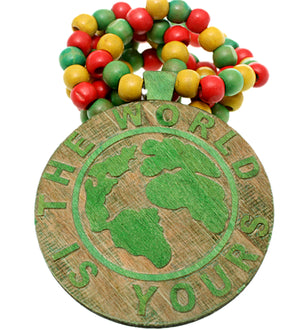 Green Wooden The World Is Yours Beaded Necklace