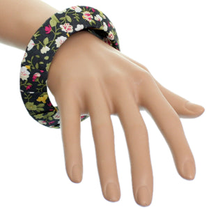 Green Floral Fabric Saucer Bangle Bracelet