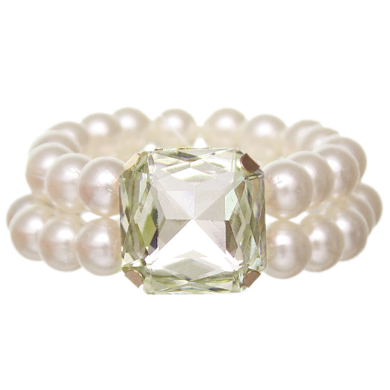 Peridot Faux Pearl Gemstone Stretch Bracelet