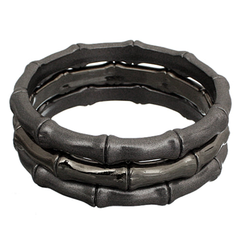 Hematite Large Bamboo Bangle Bracelets