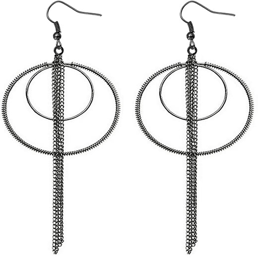 Hematite Double Hoop Drop Chain Earrings
