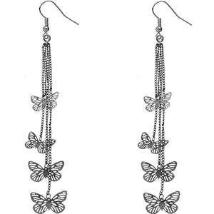 Hematite Butterfly Drop Chain Earrings