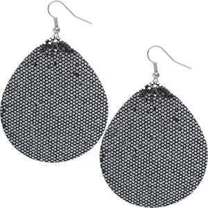 Pewter Glitter Teardrop Earrings