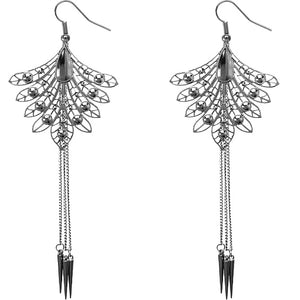 Hematite Long Spike Chain Peacock Earrings