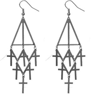 Hematite Cross Tier Dangle Earrings