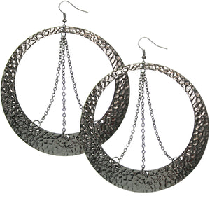 Hematite Hammered Chain Round Hoop Earrings