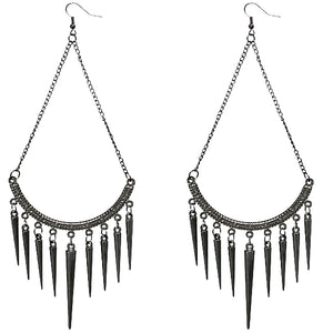 Hematite Long Spike Chain Dangle Earrings