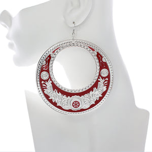 Red Large Texture Design Hoop Earrings