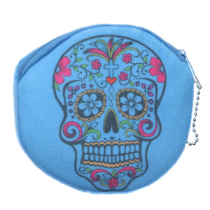 Light Blue Day of the Dead Skull Zipper Wallet