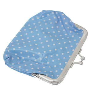Blue Polka Dot Kisslock Coin Purse Wallet