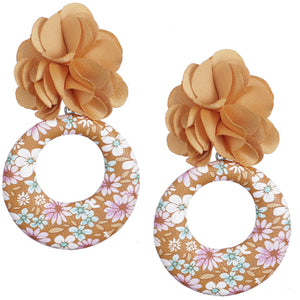 Brown Floral Drop Hoop Earrings