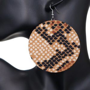 Light Brown Spotted Wooden Round Earrings