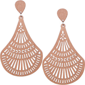 Natural Brown Laser Cut Dangle Earrings