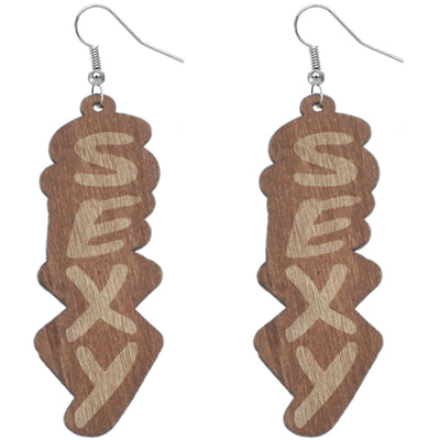 Light Brown Wooden Sexy Word Letter Earrings
