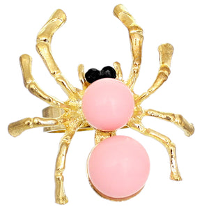 Light Pink Beaded Spider Adjustable Ring