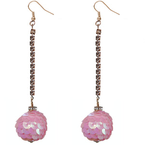 Pink Iridescent Confetti Ball Chain Earrings