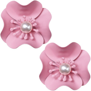 Light Pink Faux Pearl Flower Earrings