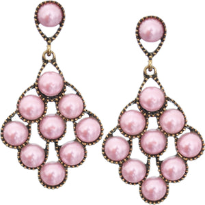 Ligh Pink Faux Pearl Open Beaded Post Earrings
