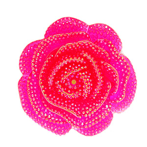 Pink Large Glitter Flower Stretch Ring