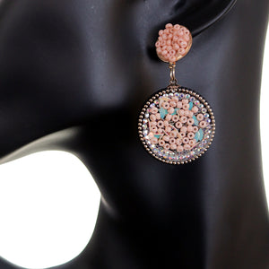 Pastel Pink Seed Bead Round Flat Disc Earrings
