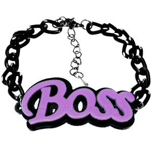 Light Purple Boss Letter Link Chain Bracelet