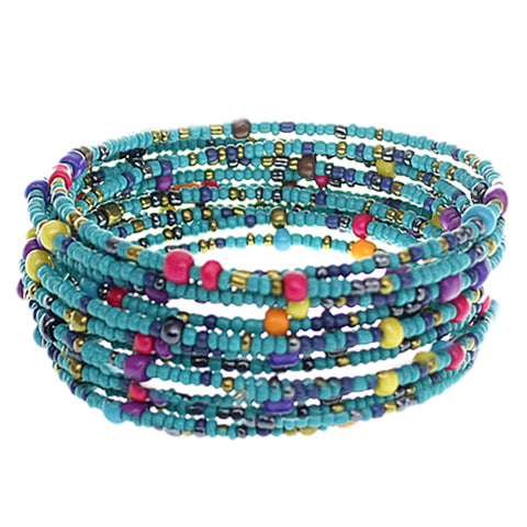 Light Blue Sequin Beaded Coil Wrap Bracelet