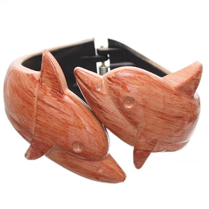 Brown Dolphin Textured Hinged Bracelet