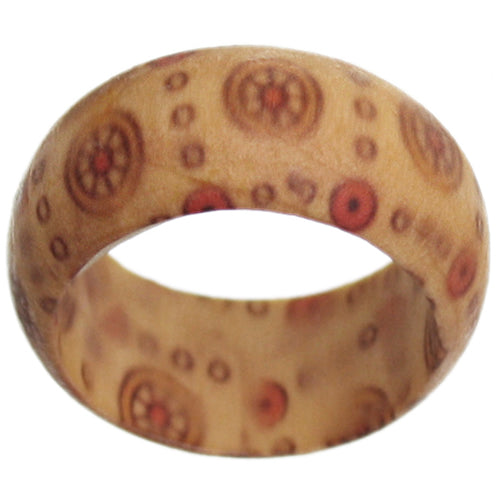 Light Brown Wooden Circular Wheel Bohemian Ring